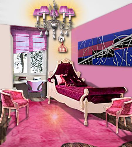 Le With Chambre Baroque Rose Et Noir