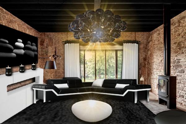 idee deco salon noir et briques