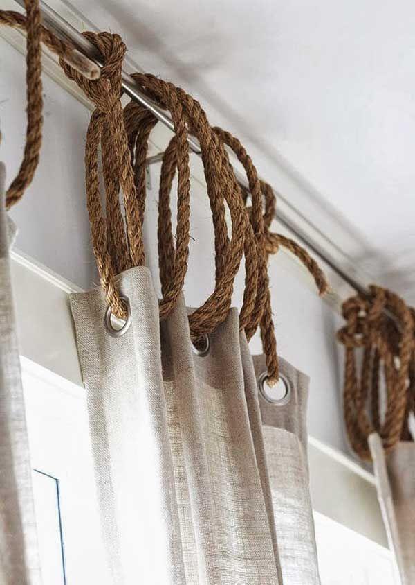 des anneaux a rideaux en corde