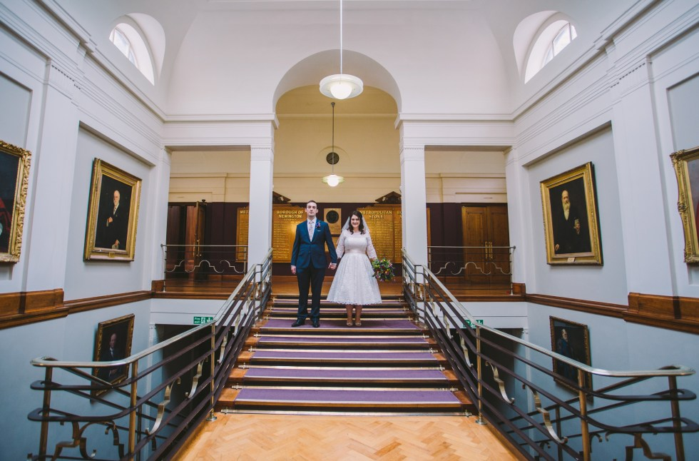 bride and groom married at stoke newington town hall london by alternative wedding photography Lex Fleming