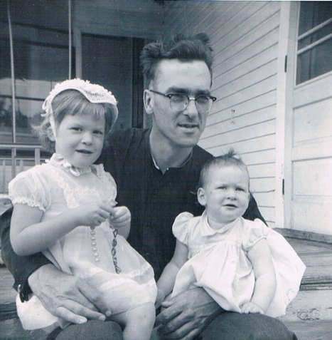 With Heather and Pamela, 1961