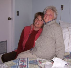 Heather visiting Mille in the nursing home, 2009