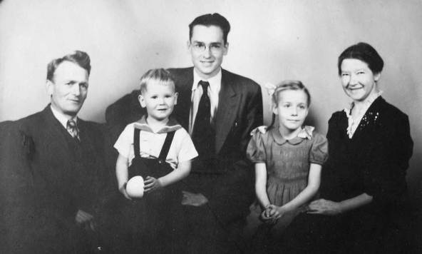 Flemming at about 19 with his parents, and John and Anna