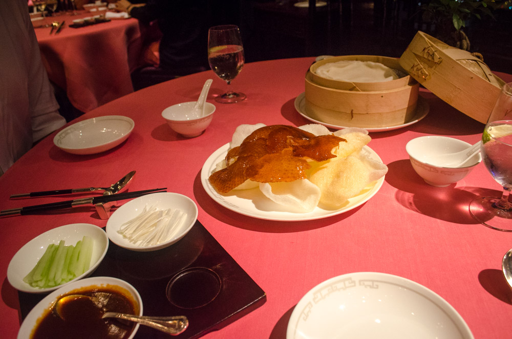 Peking duck skin and toppings