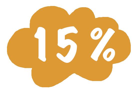 15% wolk