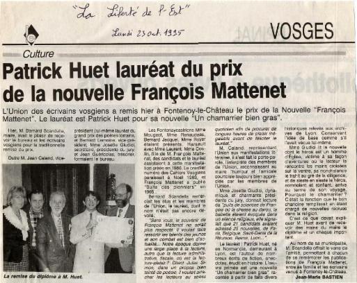 Patrick Huet Lauréat du prix littéraire François Mattenet des Vosges