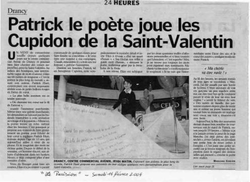 Patrick Huet et son poème géant - Lors de la Saint Valentin à Drancy