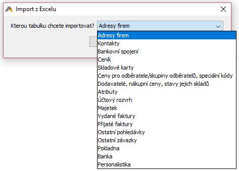 Import z Excelu