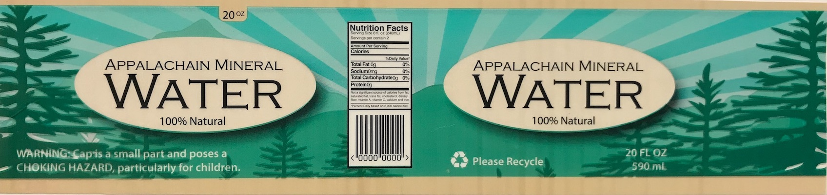 Appalachian Mineral Water Wrapper printed by Clemson University