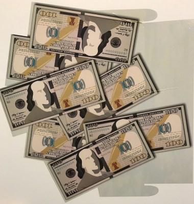 Money Display Label printed by Clemson University