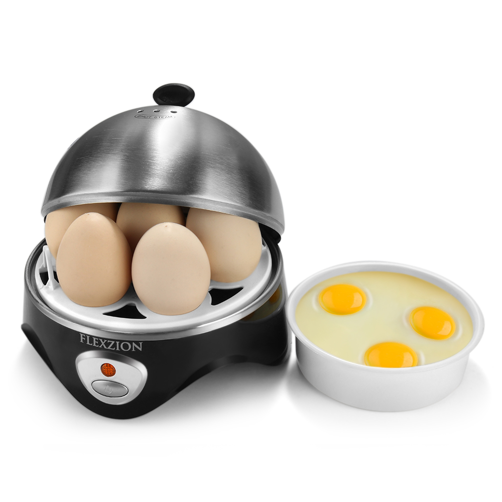Electric Egg Cooker Poacher Steamer Maker Stainless Steel With Automatic Power Shut Off Steam