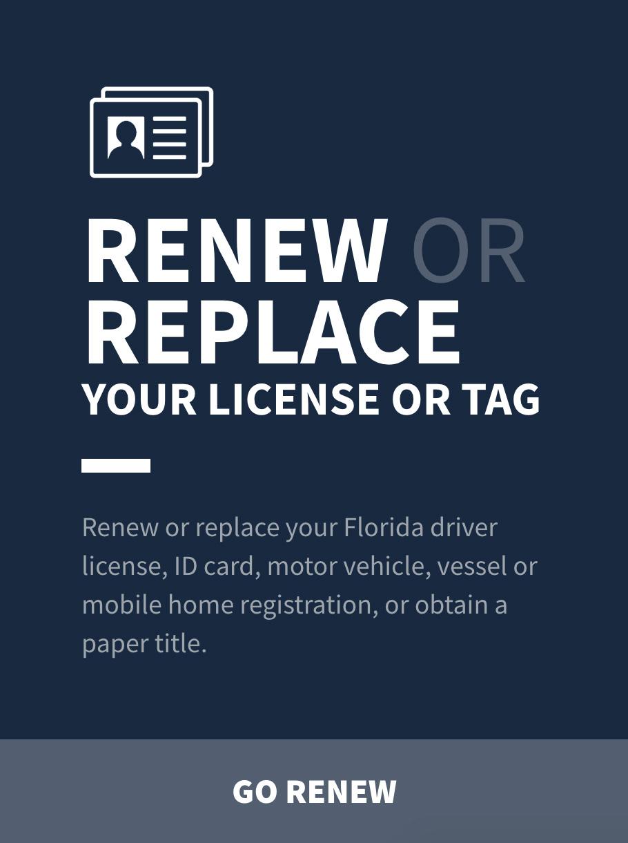Florida Department Motor Vehicles Registration Renewal