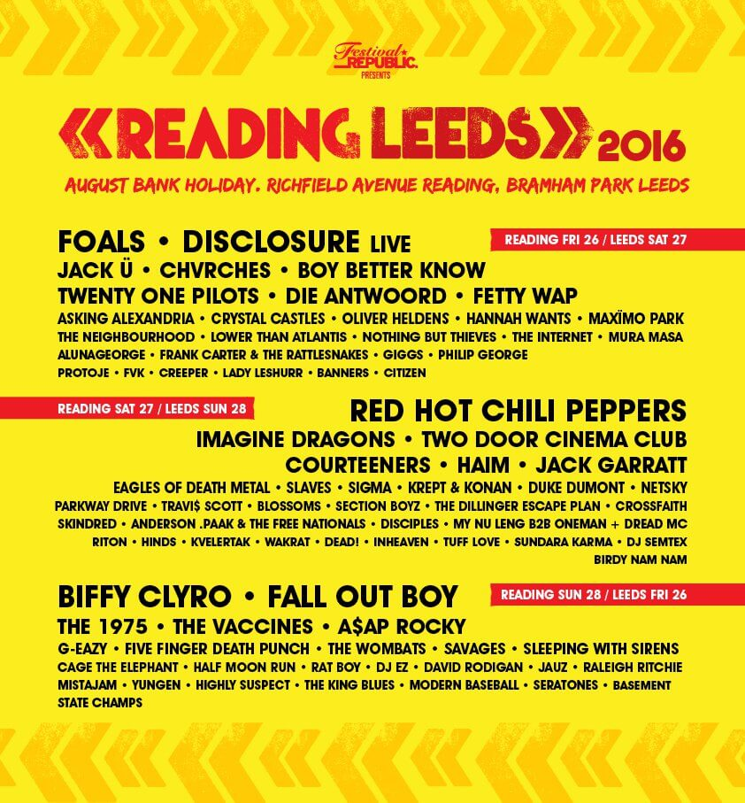 Reading Leeds Line Up 2016