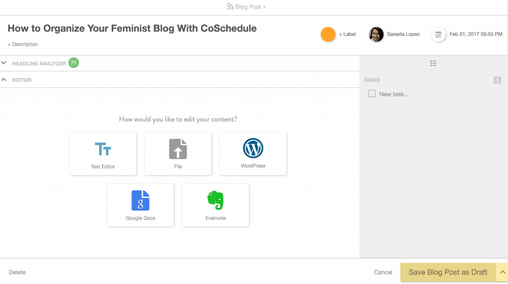 You may not know it yet, but CoSchedule is the ultimate blogging tool for new and seasoned bloggers alike. Click through to see how you can organize your feminist blog with CoSchedule!