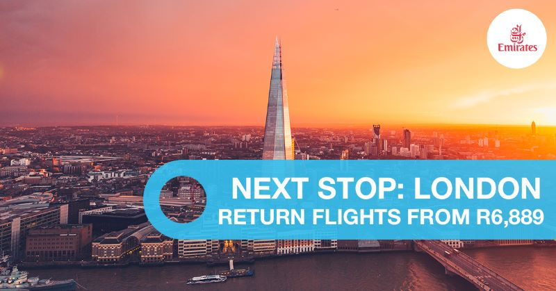 South Africa to London Flights specials