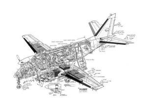 Prints of Beech King Air A100 Cutaway Drawing #1569477
