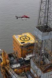 Airbus helicopter landing on offshore helipad