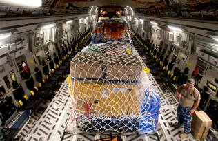 A C-17A Globemaster III aircraft at RAAF Base Darwin loaded with medical supplies to be delivered to Port Vila, Vanuatu as part of Operation PACIFIC ASSIST 2015