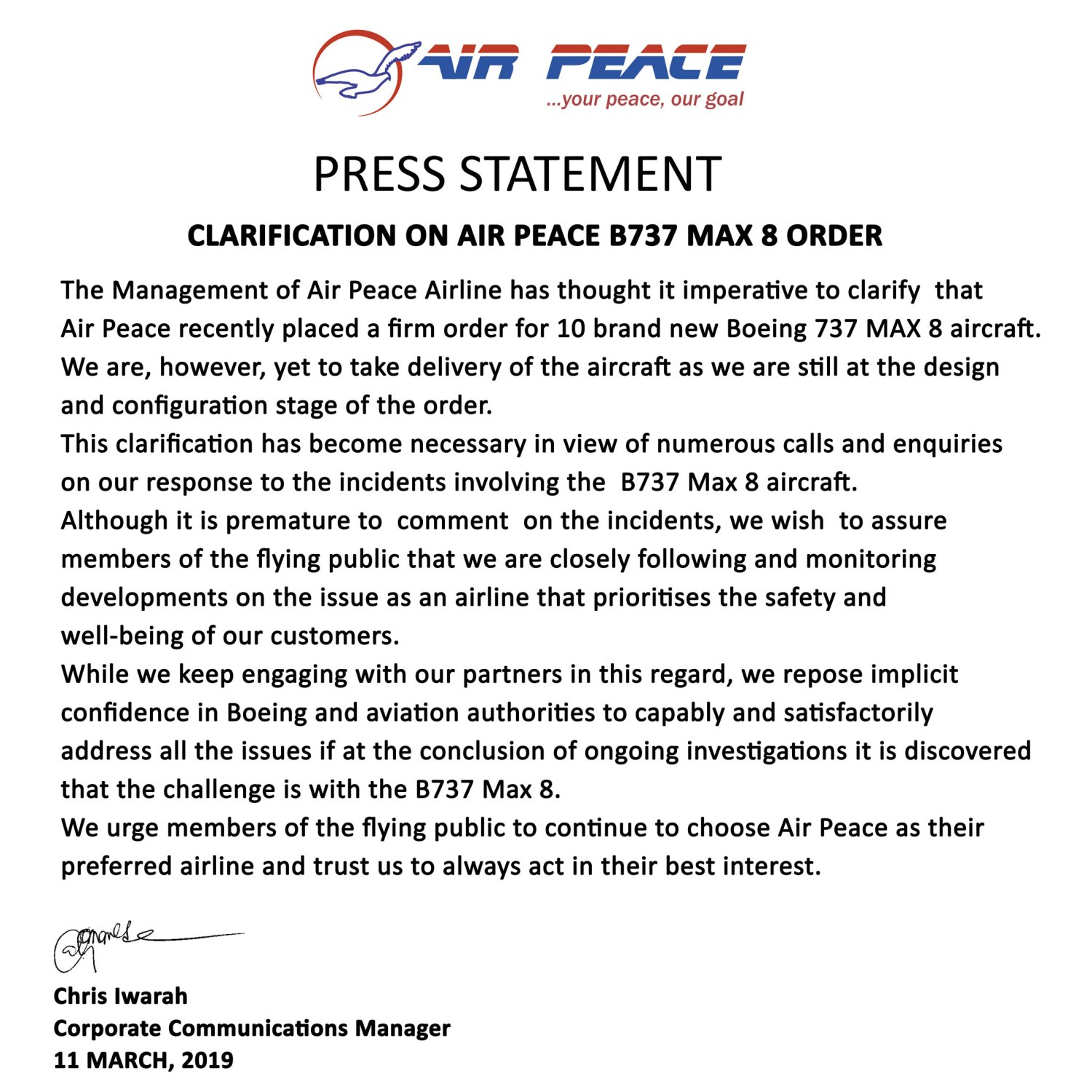 Air Peace Boeing 737-Max 8 Statement