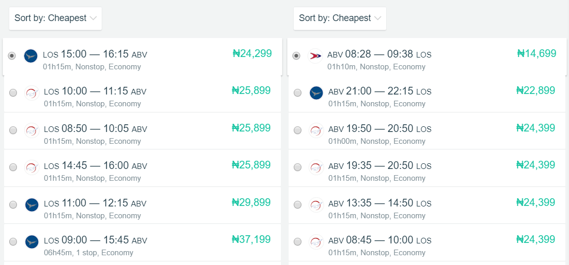 How to book cheap flights online - Lagos to Abuja Return
