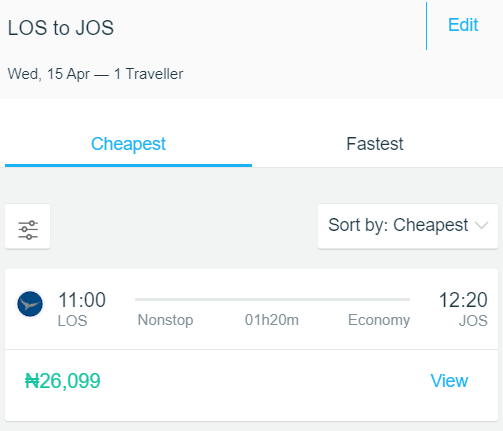 How much is a flight from Lagos to Jos?