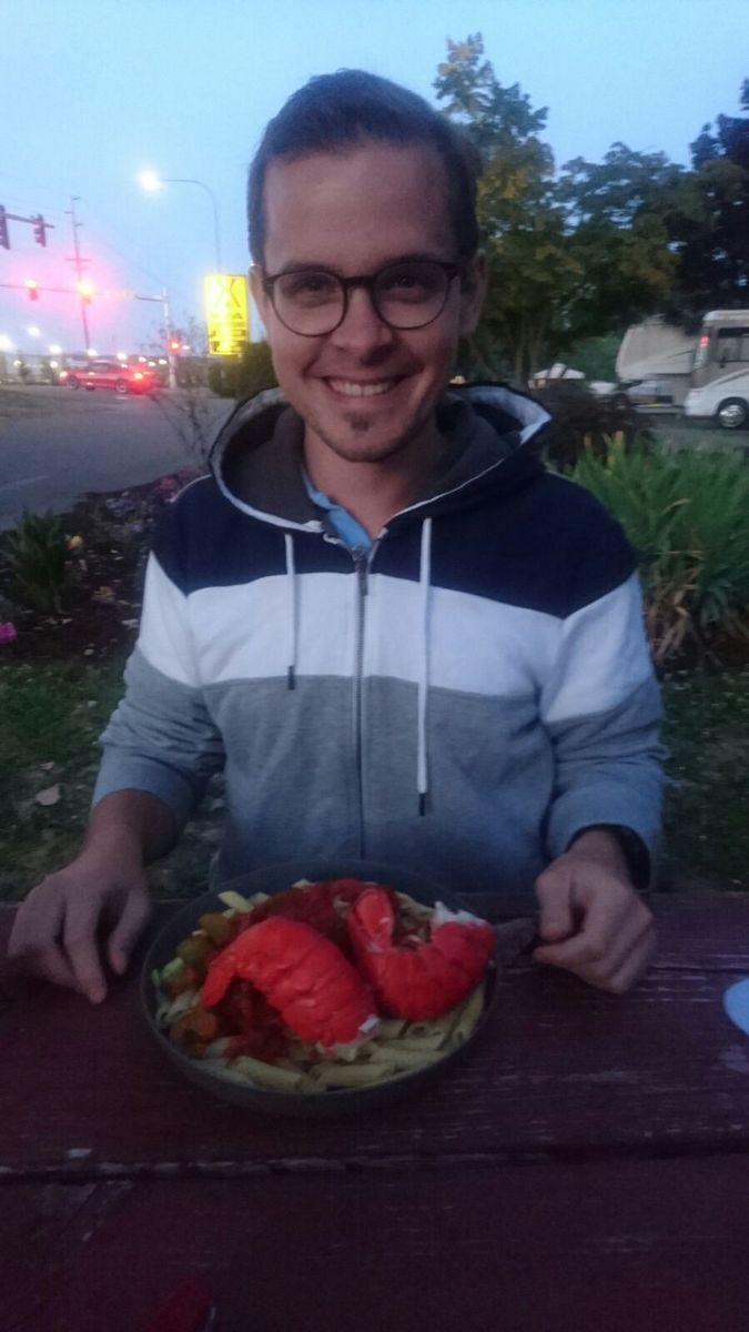 Cedric looking all happy with the lobsters