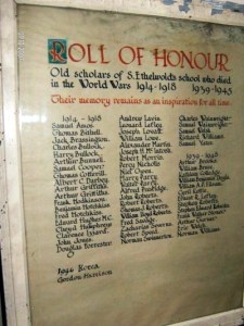 St Ethelwolds roll of honour 2