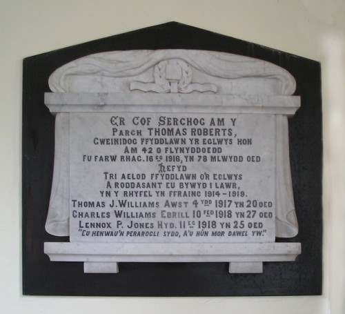 The Memorial is dedicated to a former minister of the chapel, Rev Thomas Roberts and also to the three members of the Congregation who were killed in the war.