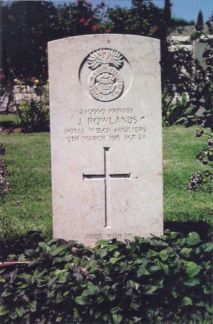 The grave of James Rowlands in Jerusalem