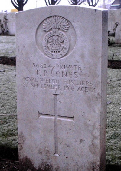 56824 Private Thomas Parry Jones Royal Wesh Fusiliers 1st September 1916