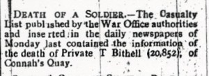 BITHELL, T. County Herald 7th July 1916 2
