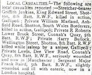 List of Local casualties County Herald 24th September 1915