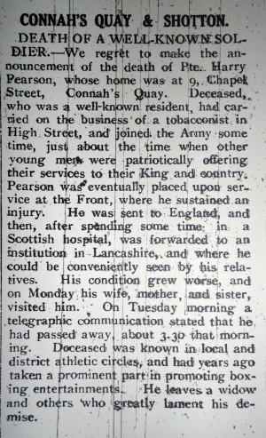 CQ PEARSON, Harry. Death of Well Known Soldier.Flintshire Observer 8th March 1918