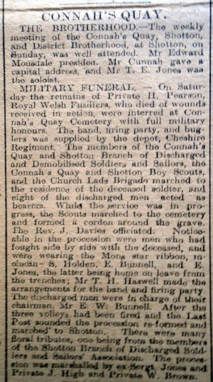 CQ PEARSON, Harry,Military Funeral, Flintshire Observer 14th March 1918