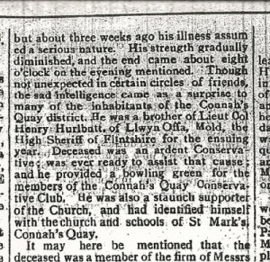HURLBUTT, Lt. Col. C. 2nd excerpt of Death & Funeral Flintshire Observer 23rd March 1917