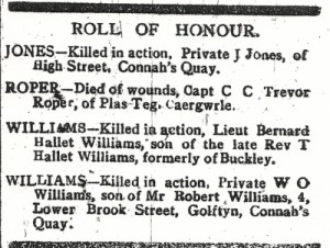 JONES, J. Roll of Honour County Herald 25th August 1917 2