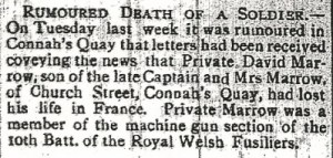 MARROW, David County Herald 11th Feb 1916 - 2