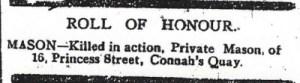 MASON, H. County Herald 1st December 1916 - 2