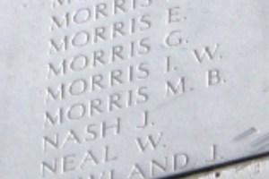 MORRIS, I. W. Close up Photo taken at the Menin Gate 16th April 2016 by Mavis Williams