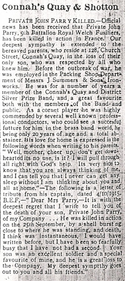 Obit for CQ Pte John PARRY, County Herald 15th Oct 1915 003
