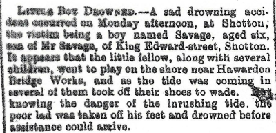 SAVAGE, Benjamin -Drowning - County Herald 17th August 1906 - 3