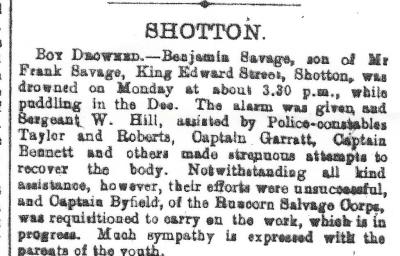 SAVAGE, Benjamin - Drowning - Flints. Observer 16th August 1906 - 2