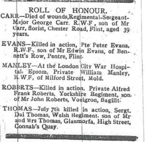 THOMAS, Dai - Roll of Honour 1