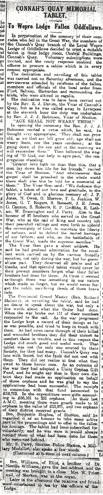 Wepre Lodge Fallen Oddfellows. CQ Mold, Deeside & Buckley Leader 3rd Oct 1924