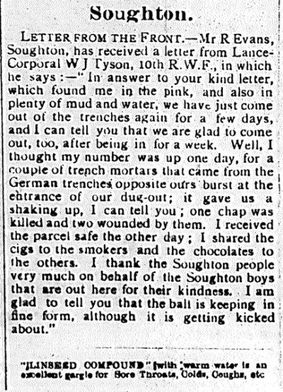 Another letter from Jack Tyson County Herald 24th December 1915