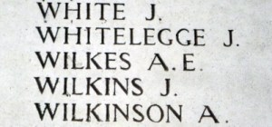 Whitelegge, Jack.  Name on the Menin Gate, photo taken on the 16th April 2016 by Mavis Williams