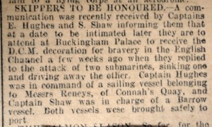 Skippers to be honoured Flints. Obs. 23rd May 1918