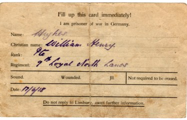 WW1-17-3 PoW card, reverse