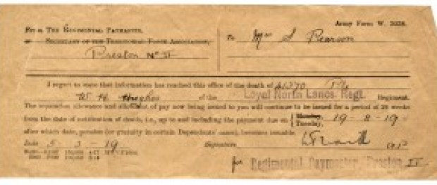 WW1-17-4 Notice of death of WH Hughes