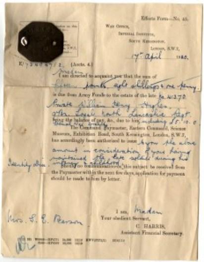 WW1-17-6 Letter from War Office